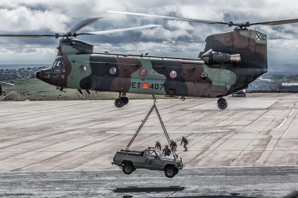 All 17 of Spain's CH-47D Chinooks will be upgraded to the F-model configuration, and will receive features such as the digital automatic flight control system, common avionics architecture system and advanced cargo handling. Boeing Photo