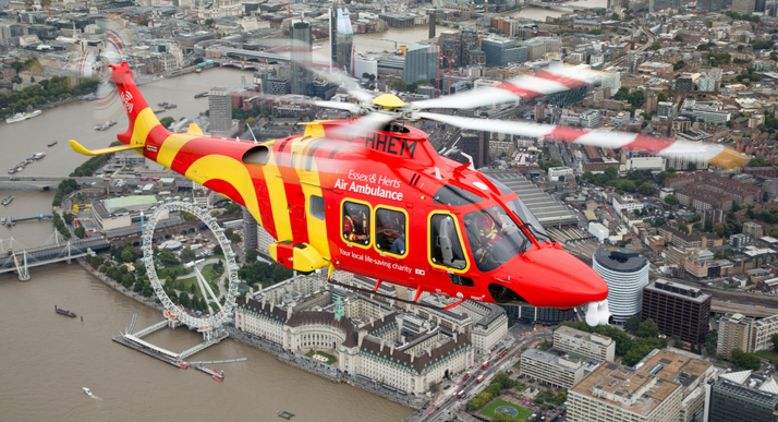 Essex & Herts Air Ambulance's helicopters and rapid response vehicles were dispatched a total of 2,241 times in 2018. EHAAT Photo