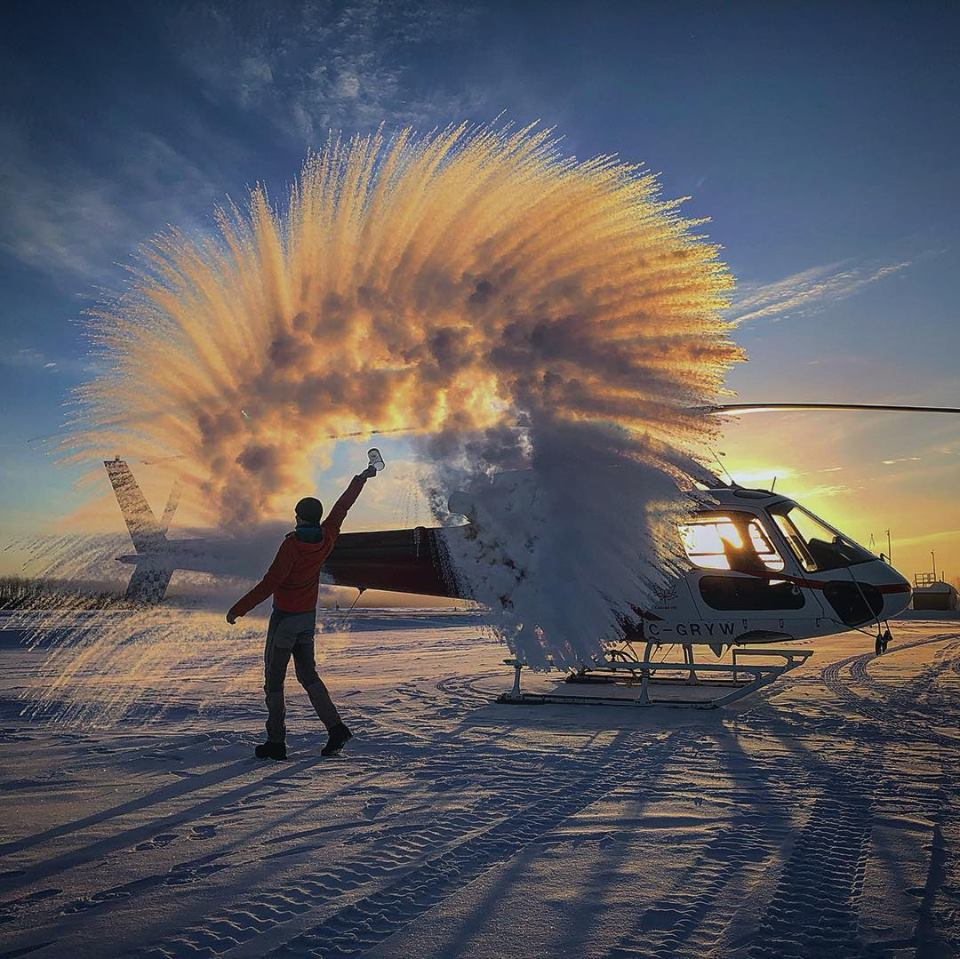 A spectacular display of ice crystals next to an Airbus AS350 at High Level Airport. Photo submitted by Florian Karst (Instagram user @flo_karst)