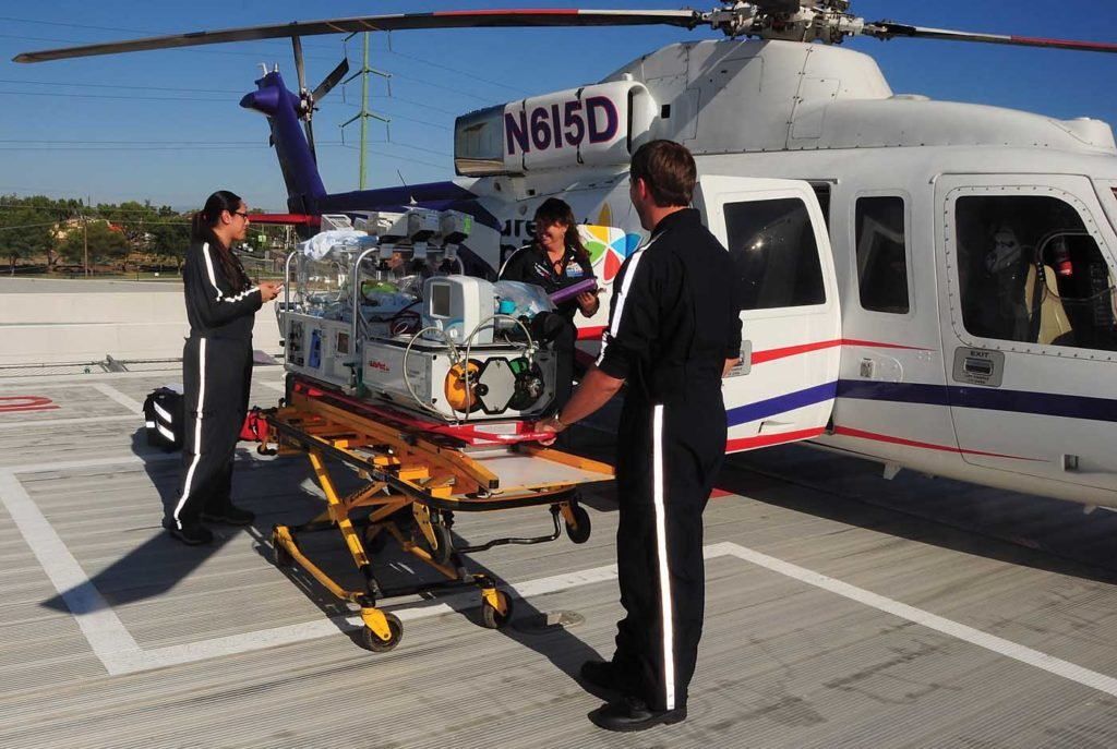 CHLA provides the medical team for each flight, tailoring personnel and medical equipment to the patient's needs. Skip Robinson Photo
