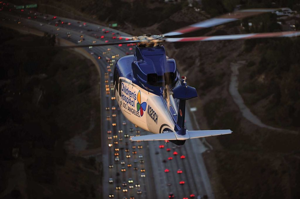 The fast cruise speed of the S-76 helps keep transport time to a minimum in situations where every minute counts. Skip Robinson Photo