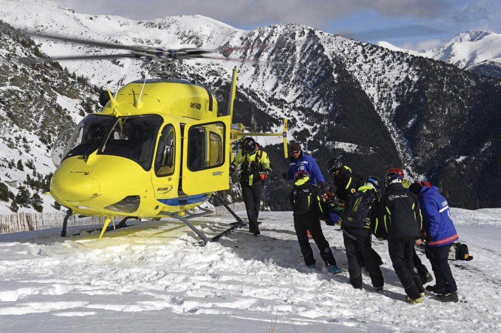 Introducing a new machine requires new certifications for all personnel, including the rescue teams from the Andorran government. The size difference between the older EC135 P2+ and the new Bell 429 has made a big difference for rescue operations at altitude. Anthony Pecchi Photo
