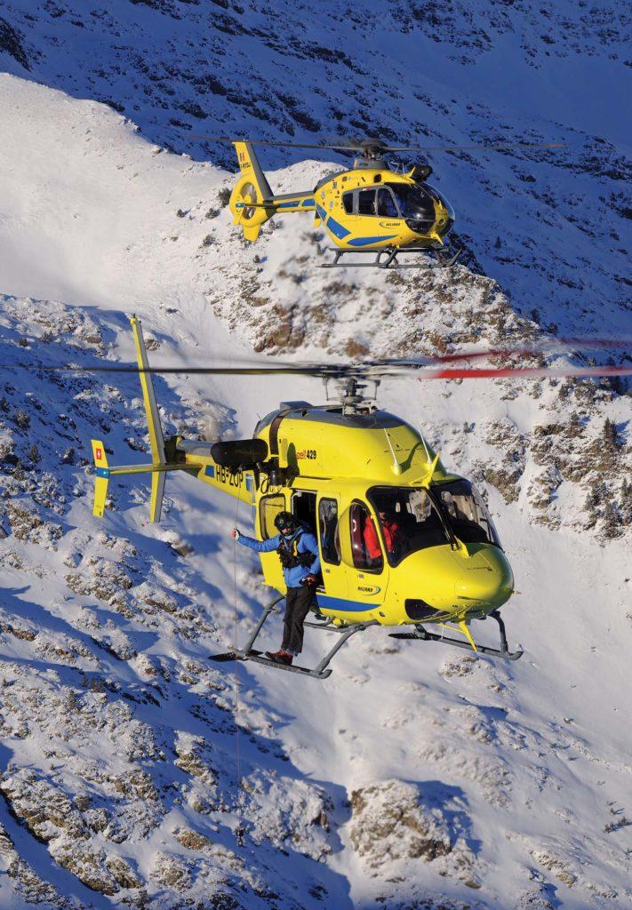 Heliand's 429 flies alongside the operator's EC135 P2+. Anthony Pecchi Photo