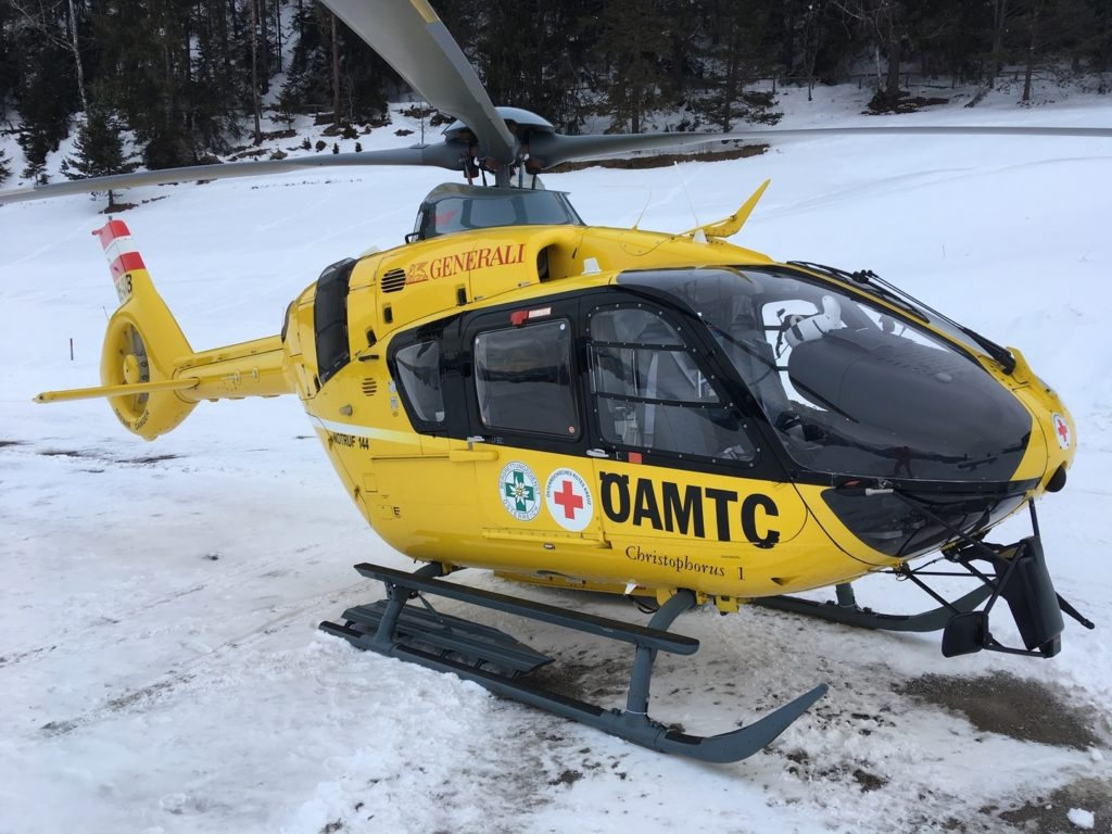 After 2.5 days of test flights, the finished H135 helicopter returned to service on Feb. 5 in Innsbruck as Christophorus 1. OAMTC Photo
