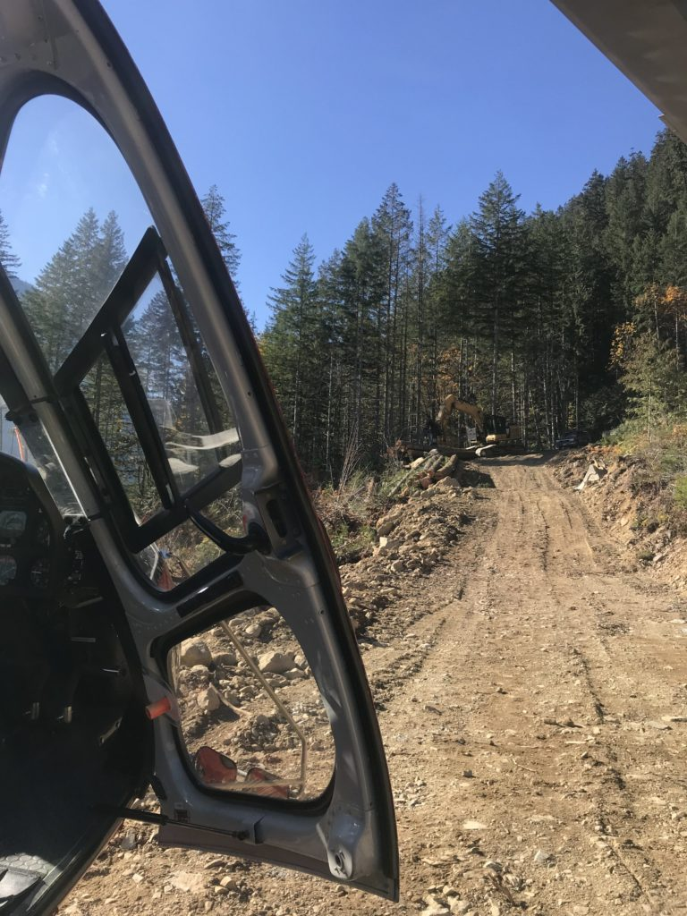 Due to overhead snag hazards at the accident site, TEAAM landed on a nearby logging access road. Miles Randell Photo