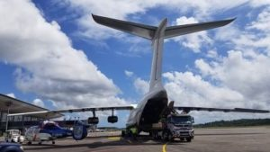 The two helicopters were transported with an II-76 from Heli-Union's base in Cameroun to Heli-Union's local base in Felix-Eboué Airport, Cayenne.