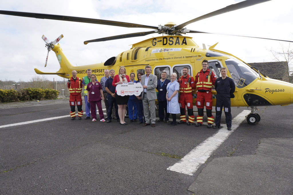 Robert Bertram, CEO of the HELP Appeal presents the donation to Dorset County Hospital. HELP Appeal Photo