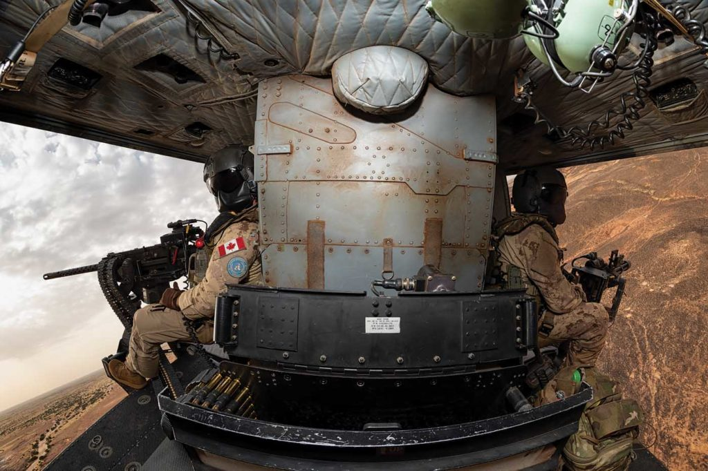 Inside the cabin of a CH-146 Griffon during a range training mission. Lloyd Horgan Photo