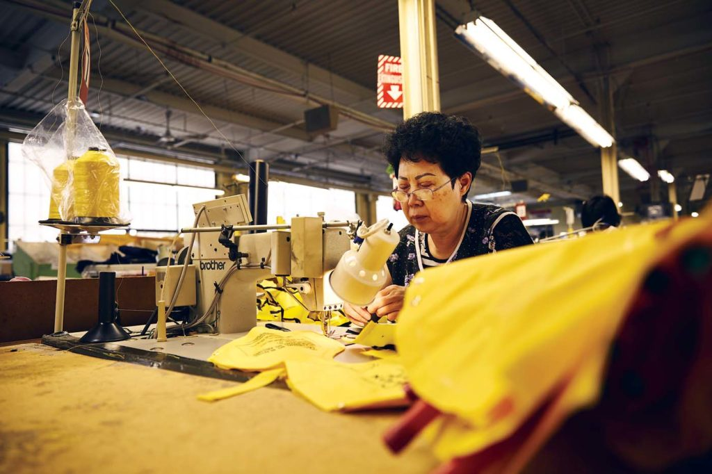 Pictured is the production process of the ILV-20 infant vest. Switlik's infant life vest is used by many airlines around the world. Switlik Photo