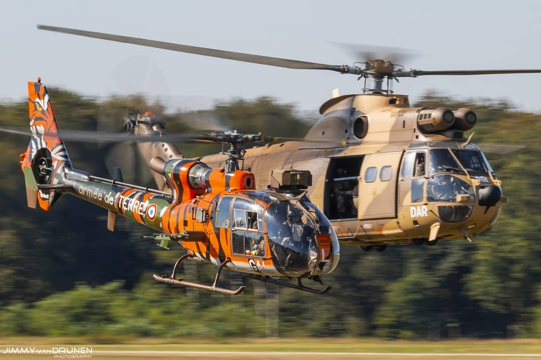 An Aérospatiale 'Tiger' Gazelle and a Puma low level at Gilze-Rijen Air Base. Photo submitted by Jimmy van Drunen (Instagram user @jimmyvandrunen) using #verticalmag