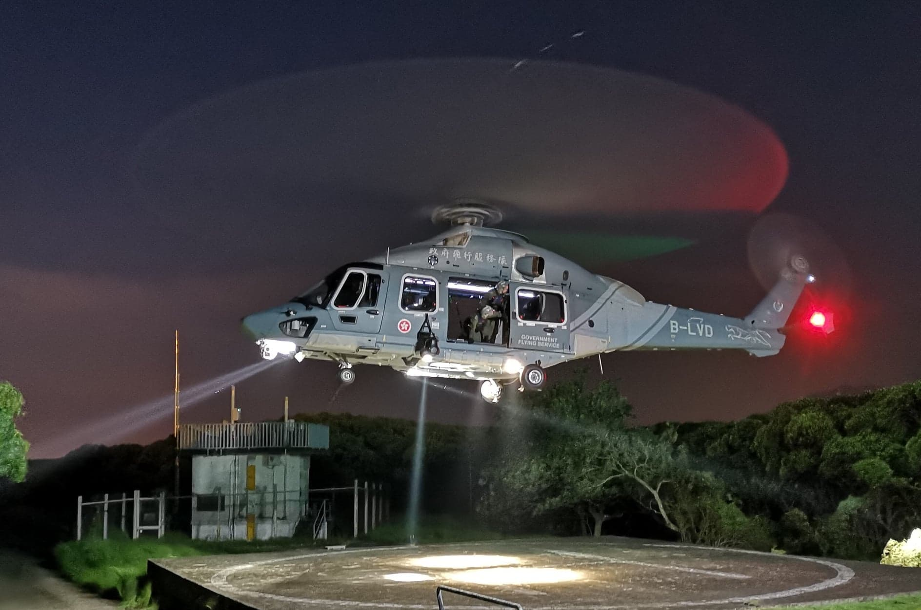 An Airbus H175 operated by the Hong Kong Government Flying Service conducts night training. Photo submitted by Andy Ng