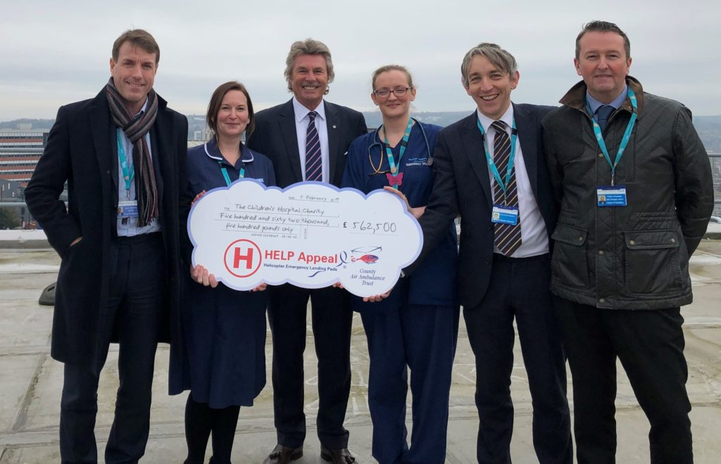 From left: John Somers, chief executive officer of Sheffield Children's NHS Foundation Trust; Nicola Anderson, trauma nurse coordinator at Sheffield Children's Hospital; Robert Bertram, CEO of the HELP Appeal; Dr. Clare O'Connell, consultant in emergency medicine and major trauma lead at Sheffield Children's Hospital; David Vernon-Edwards, director at The Children's Hospital Charity; and Peter Knowles, head of estates at Sheffield Children's NHS Foundation Trust. HELP Appeal Photo