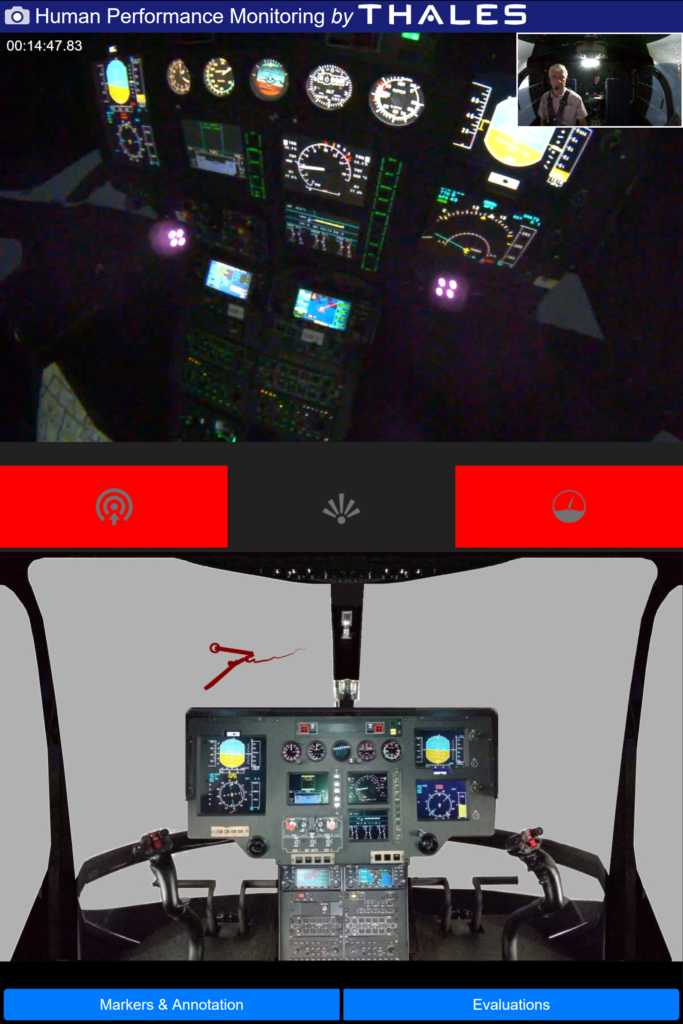 On the central banner, three alarms warn the instructor that the pilot is in a tunnel vision situation, or is not looking through the windows or at the instrument panel enough. At the bottom of the display, on the left window, the recent focus of the pilot's gaze is depicted with a red line. Thales Training & Simulation Photo