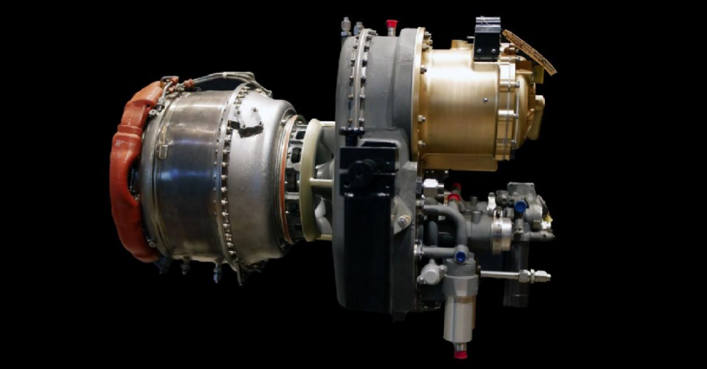 Honeywell's hybrid-electric system combines the company's HTS900 engine with two high-powered generators to create a safe, reliable propulsion solution enabling next-generation aircraft. Honeywell Photo