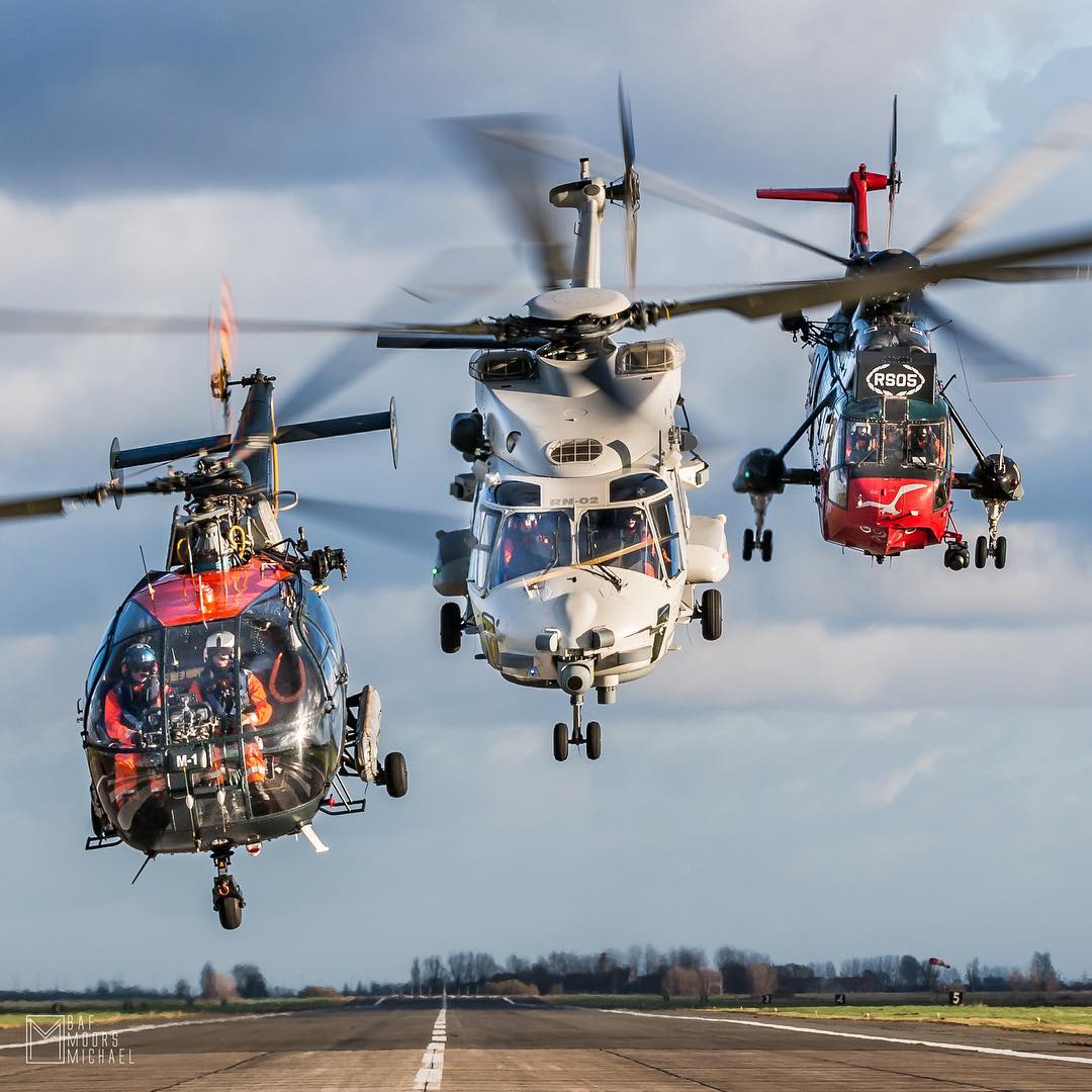 An Aerospatiale Alouette III, NHIndustries NH90, and Westland Sea King are captured after takeoff. Photo submitted by Michael Moors (Instagram user @stinger309) using #verticalmag