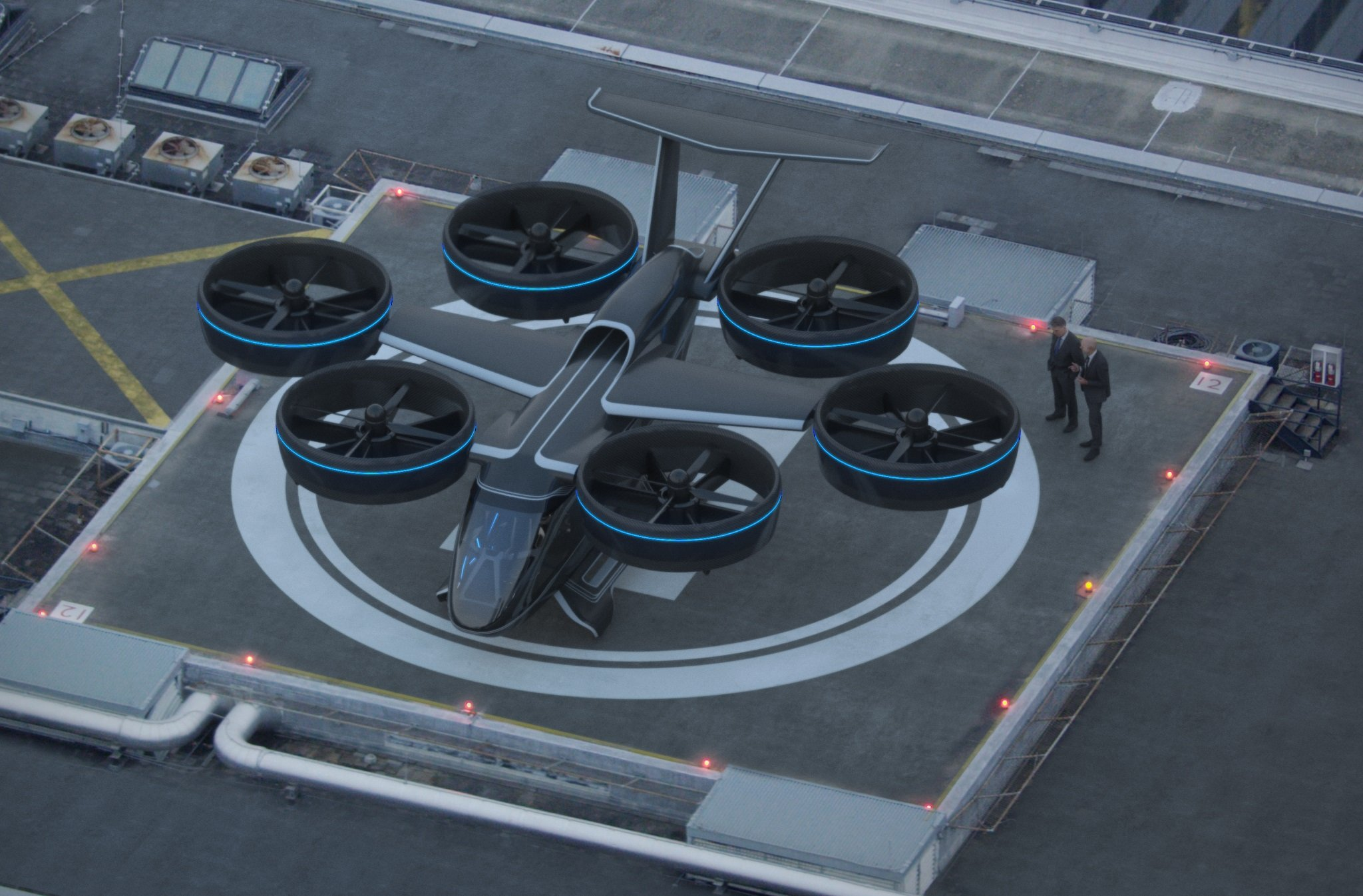The Bell Nexus will be powered by a hybrid distributed propulsion system that drives six ducted fans. Bell Image