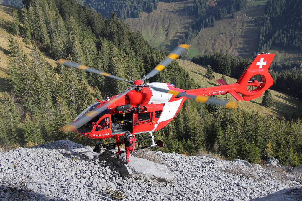 Rega's fleet of seven H145s will be retrofitted with the five-bladed main rotor that Airbus has developed for the H145. Rega Photo