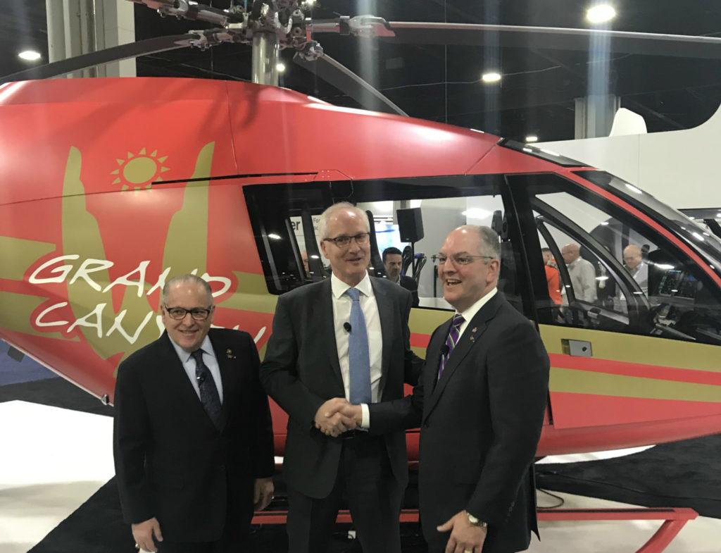 From left: Lousiana Economic Development Secretary Don Pierson, Kopter Group CEO Andreas Löwenstein, and Louisiana Governor John Bel Edwards. Kopter Photo