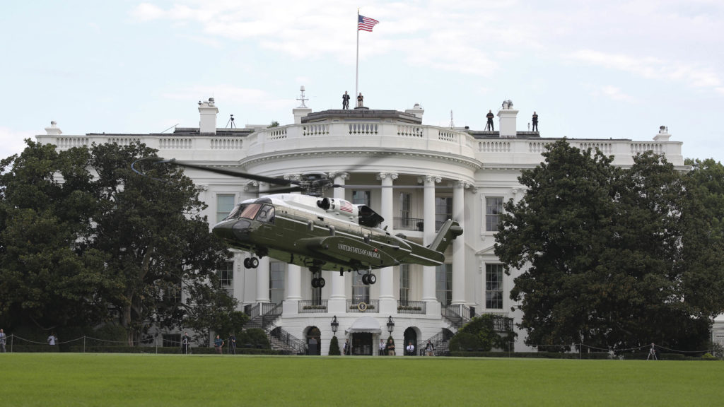 VH-92A presidential helicopter lands on White House South Lawn