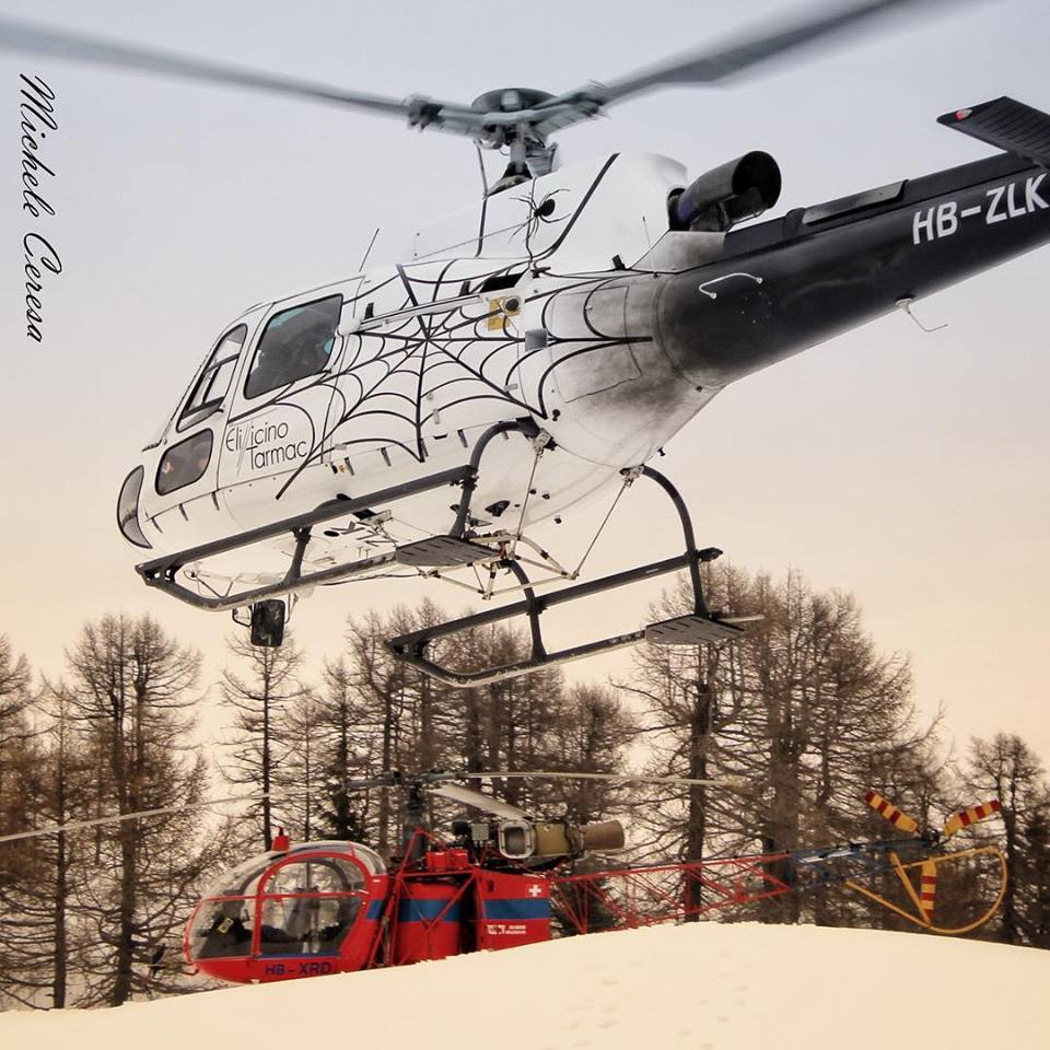 An Airbus AS350 with unique livery and an Aerospatiale SA 315B Lama. Photo submitted by Michele Ceresa (Instagram user @helicopterphotosmicheleceresa) using#verticalmag