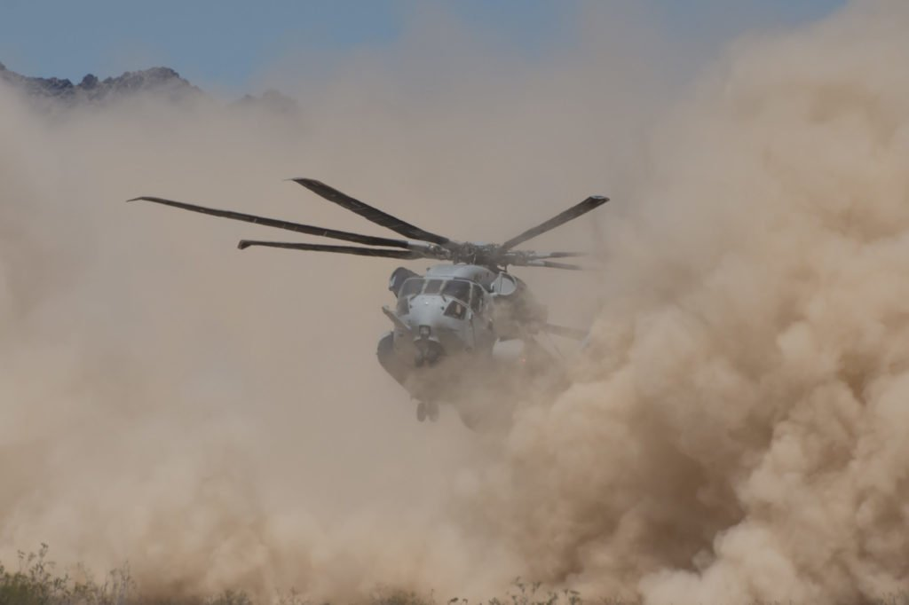 CH-53K helicopter landing in brownout