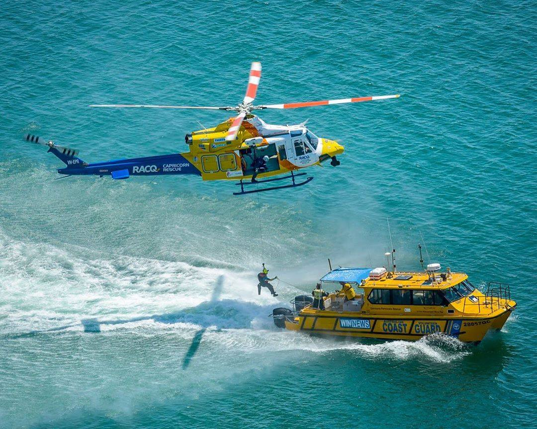A Bell 412EP operated by Capricorn Rescue Helicopter conducts practice exercises. Photo submitted by Simon Casson (Instagram user @simoncassonphotographer) using #verticalmag