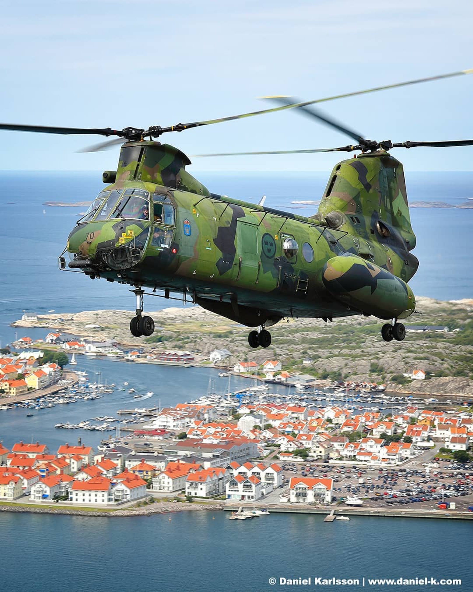 A Swedish HKP 4 flies over Marstrand, Sweden. Photo submitted by Daniel Karlsson (Instagram user @daniel_k_com) using #verticalmag
