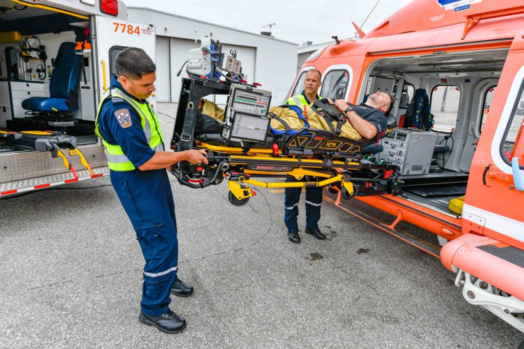 Ornge has completed the installation of the HeliMods PAL stretcher system across its fleet of 11 Leonardo AW139s. Mike Reyno Photo