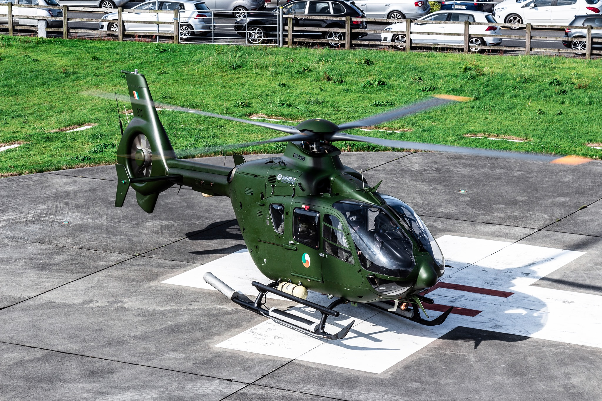 An Irish Air Corps Airbus EC135 at University Hospital Galway. Photo submitted by David McGrath