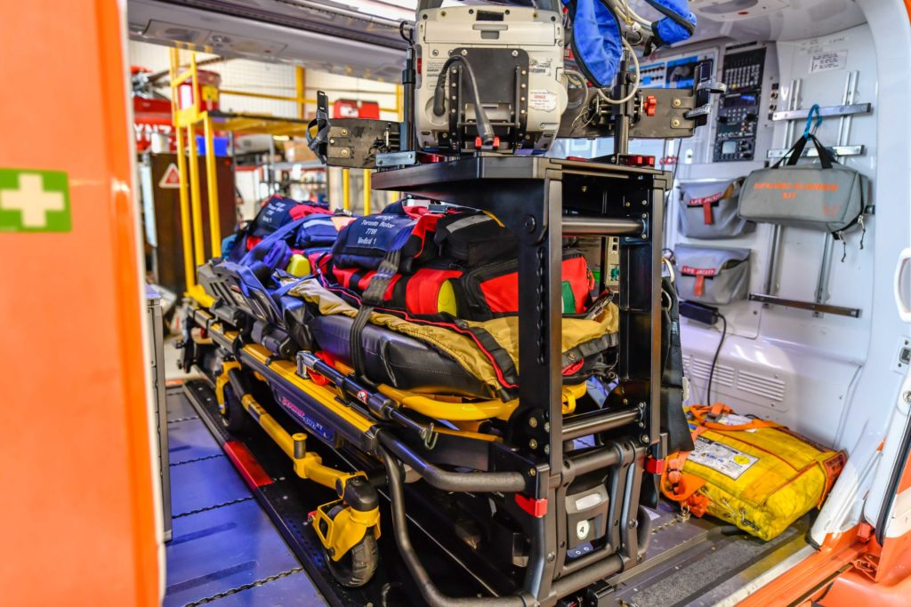 The HeliMods PAL system allows the stretcher to be loaded into the helicopter at the push of a button. Rob Reyno Photo
