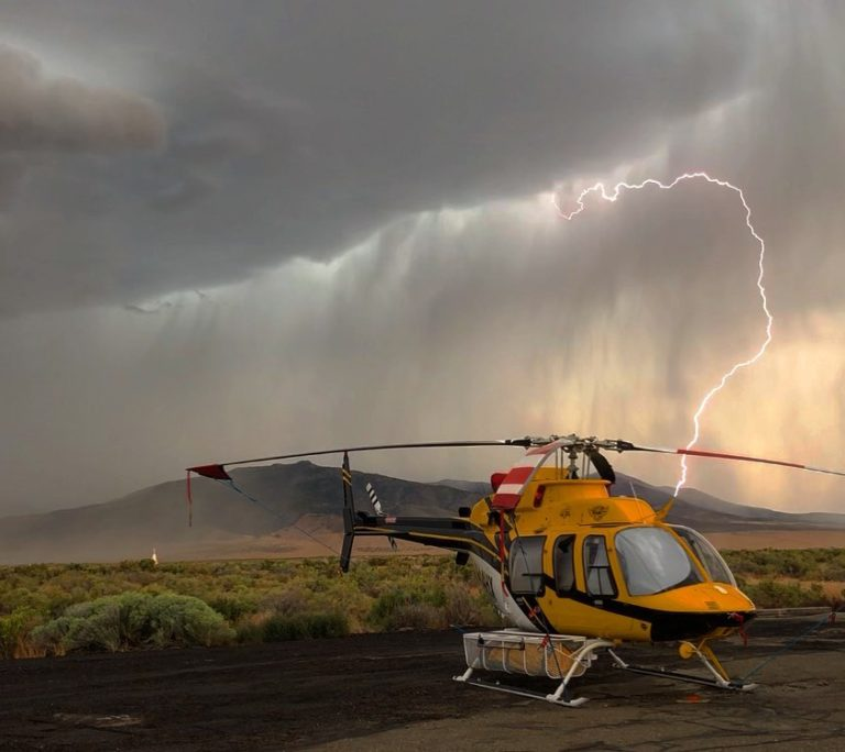 A Bell 407 HP under stormy skies. Photo submitted by Instagram user @gcortelyou using #verticalmag
