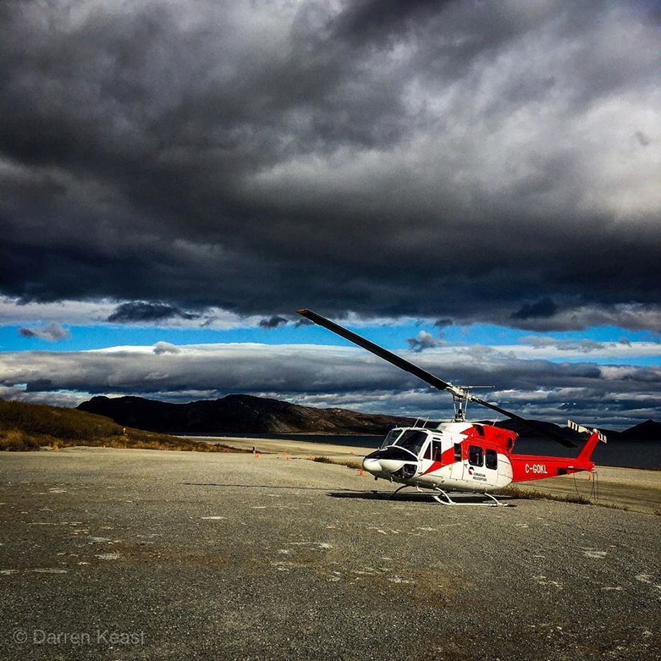 A Bell 212 sits on the northern Labrador coast. Photo submitted by Darren Keast (Instagram user @darren_keast) using #verticalmag