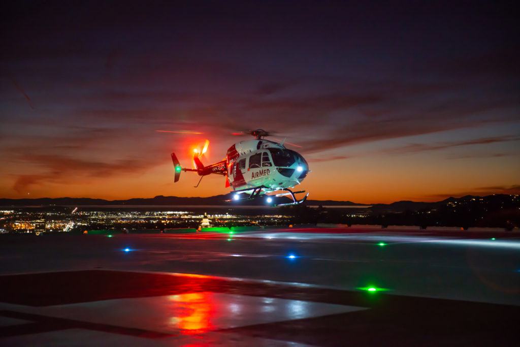 AirMed, in partnership with Metro Aviation, operates eight helicopters and two airplanes from seven bases in Utah and Wyoming.