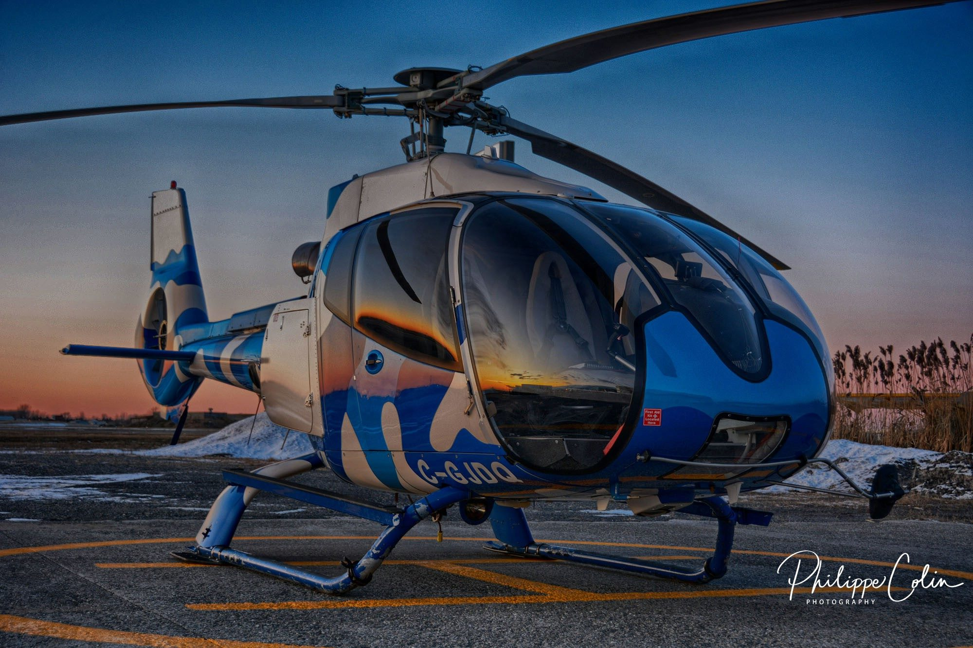 A colorful Airbus EC130 operated by Wendake Helicoptere Inc. Photo submitted by Philippe Colin