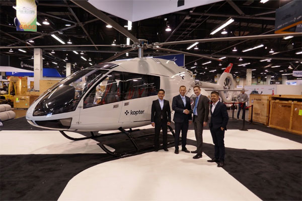 The SH09 helicopters are to be dedicated to urban air mobility operations with Ascent Flights Global. Kopter Photo