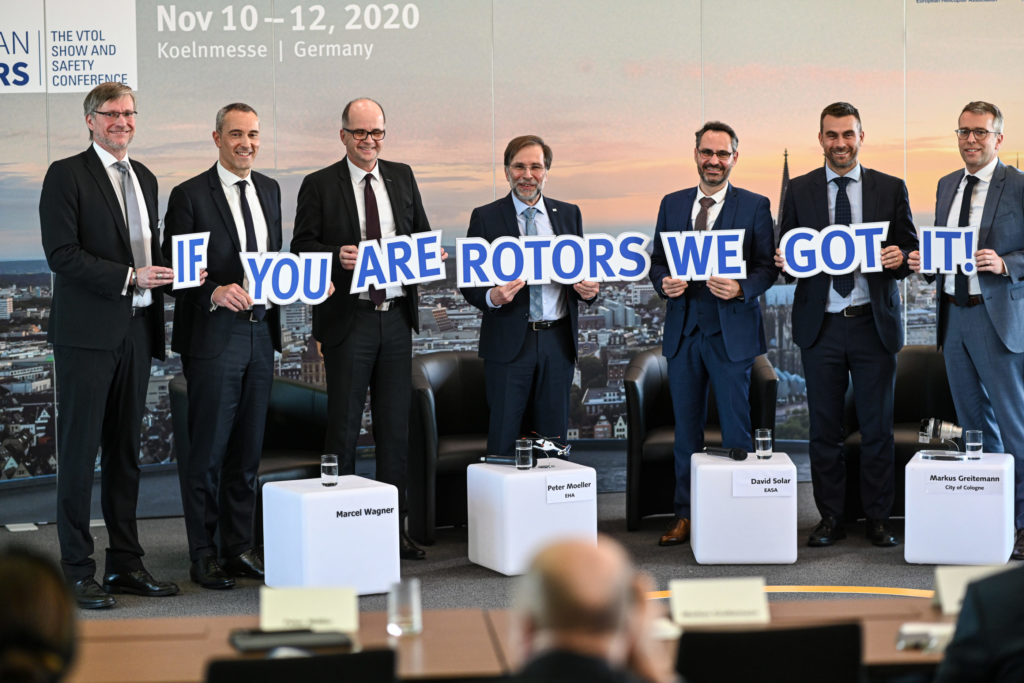 From left: Dr. Frank Liemandt (show manager of European Rotors), Luc Bentolila (Airbus VP marketing & sales development), Markus Greitemann (Commissioner of the City of Cologne for city development, construction and economy), Peter Moeller (chairman of the European Helicopter Association), David Solar (head of Rotorcraft and VTOL department, European Union Aviation Safety Agency), Patrick Moulay (Bell senior vice president, commercial business - International), and Francis Larribau (CEO of Safran Helicopter Engines Germany). European Rotors Photo