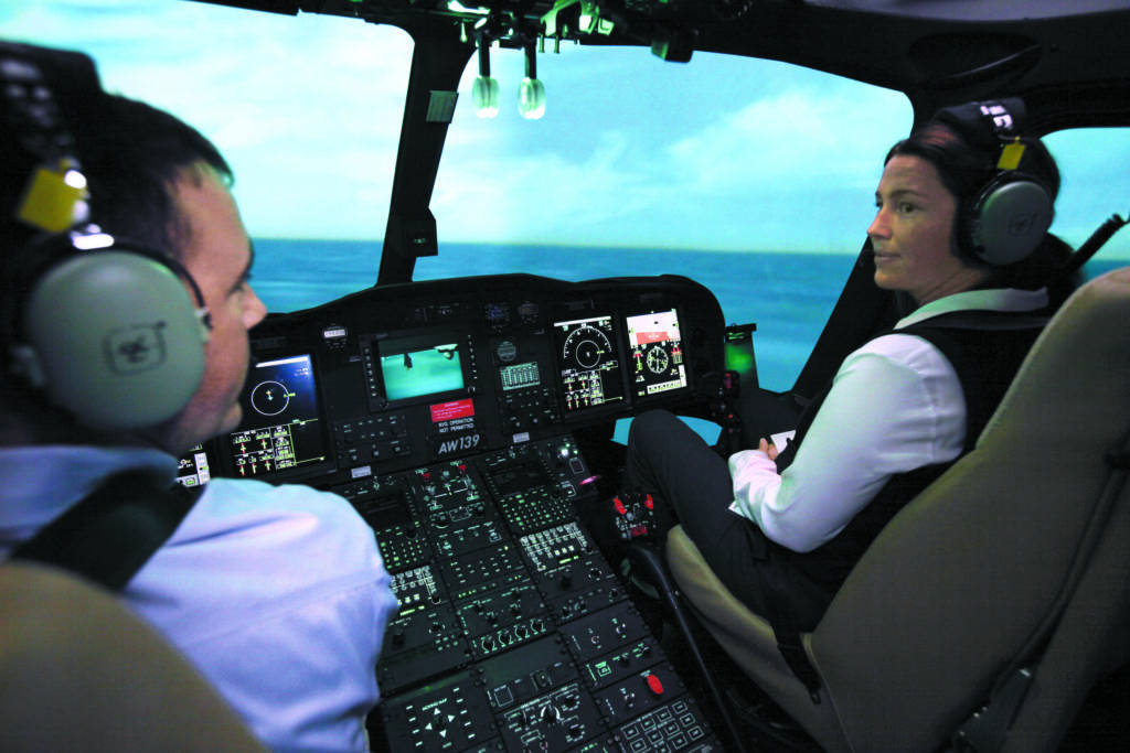 The advances in technology incorporated into the new EC145 and AW139 simulators include FlightSafety's industry-leading VITAL 1150 visual system and CrewView collimated glass mirror display. FlightSafety Photo