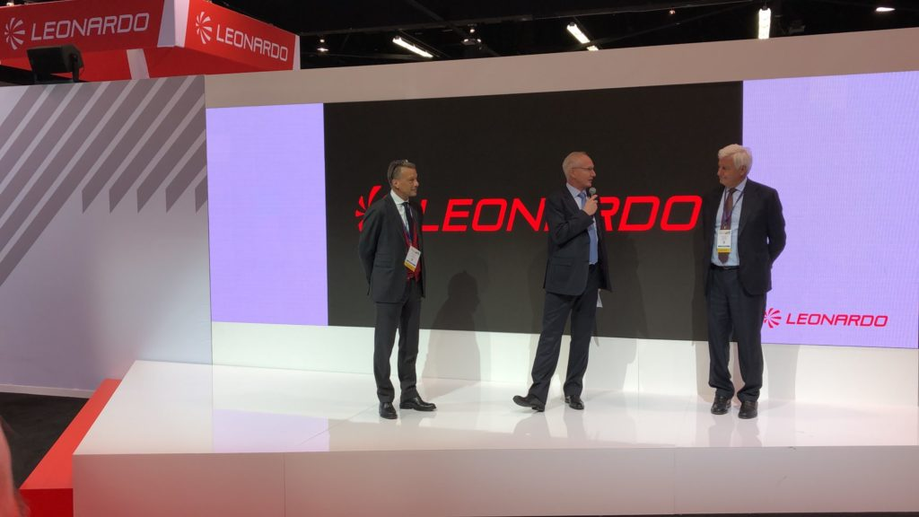 Kopter and Leonardo executives discussed the acquisition during a ceremony at HAI Heli-Expo 2020. From left: Leonardo Helicopters managing director Gian Piero Cutillo, Kopter CEO Andreas Löwenstein, and Leonardo CEO Alessandro Profumo. Oliver Johnson Photo