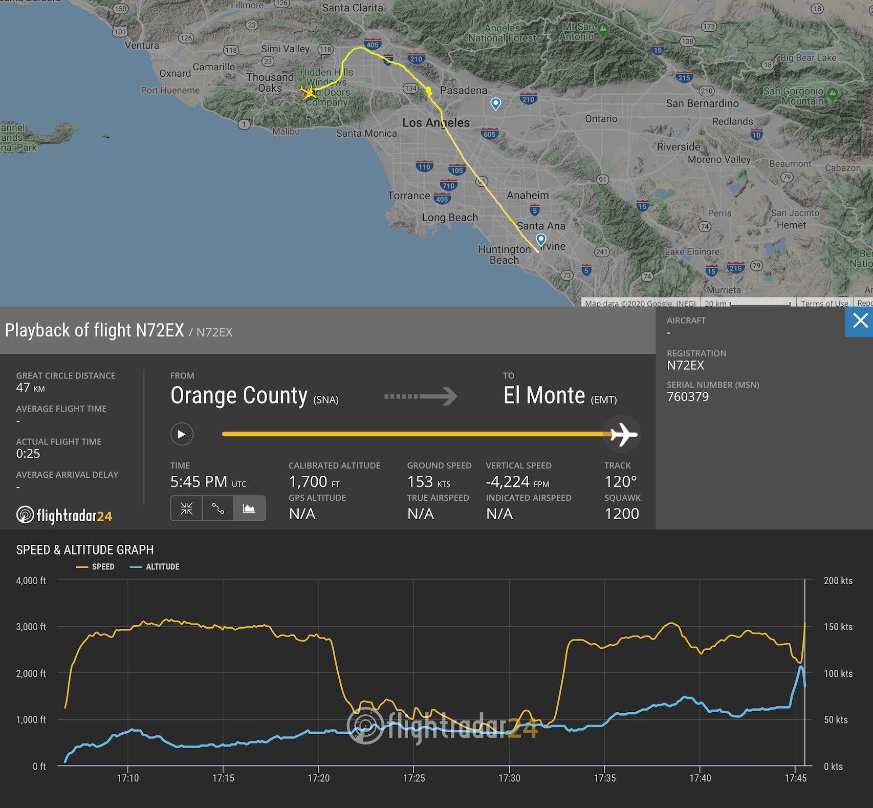 N72EX Flightradar24