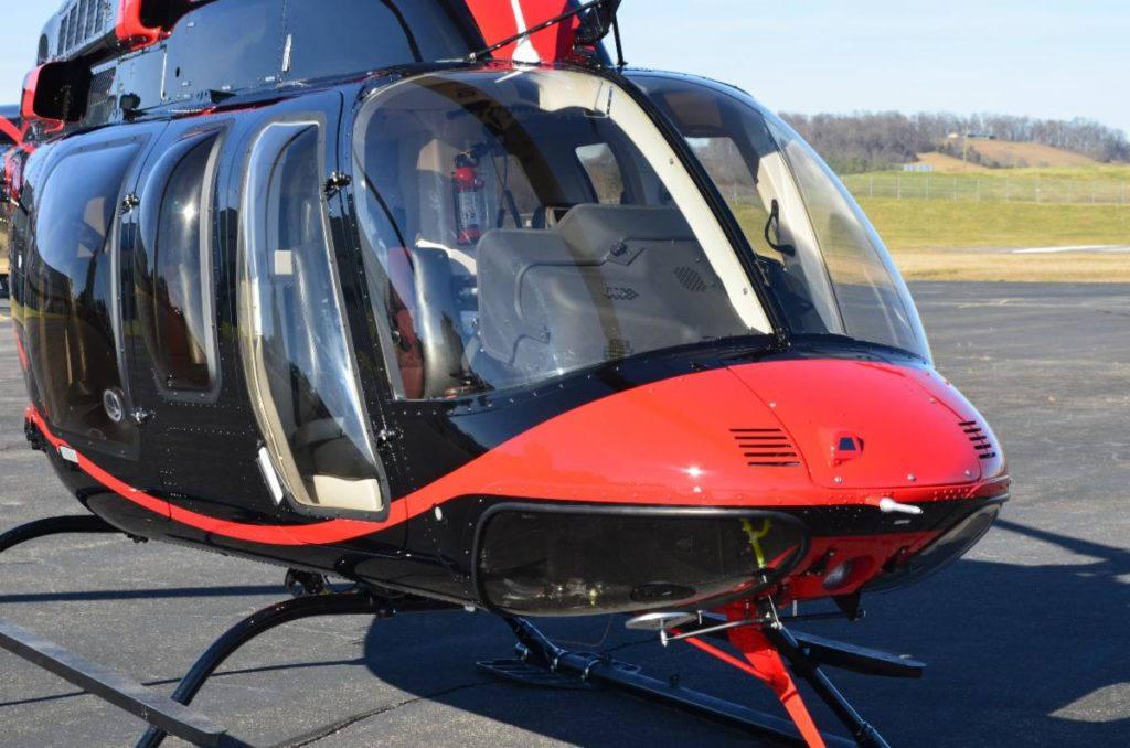 The Bell 407 with Max-Viz 1400 allows pilots to see more precisely in adverse weather conditions. Astronics Photo