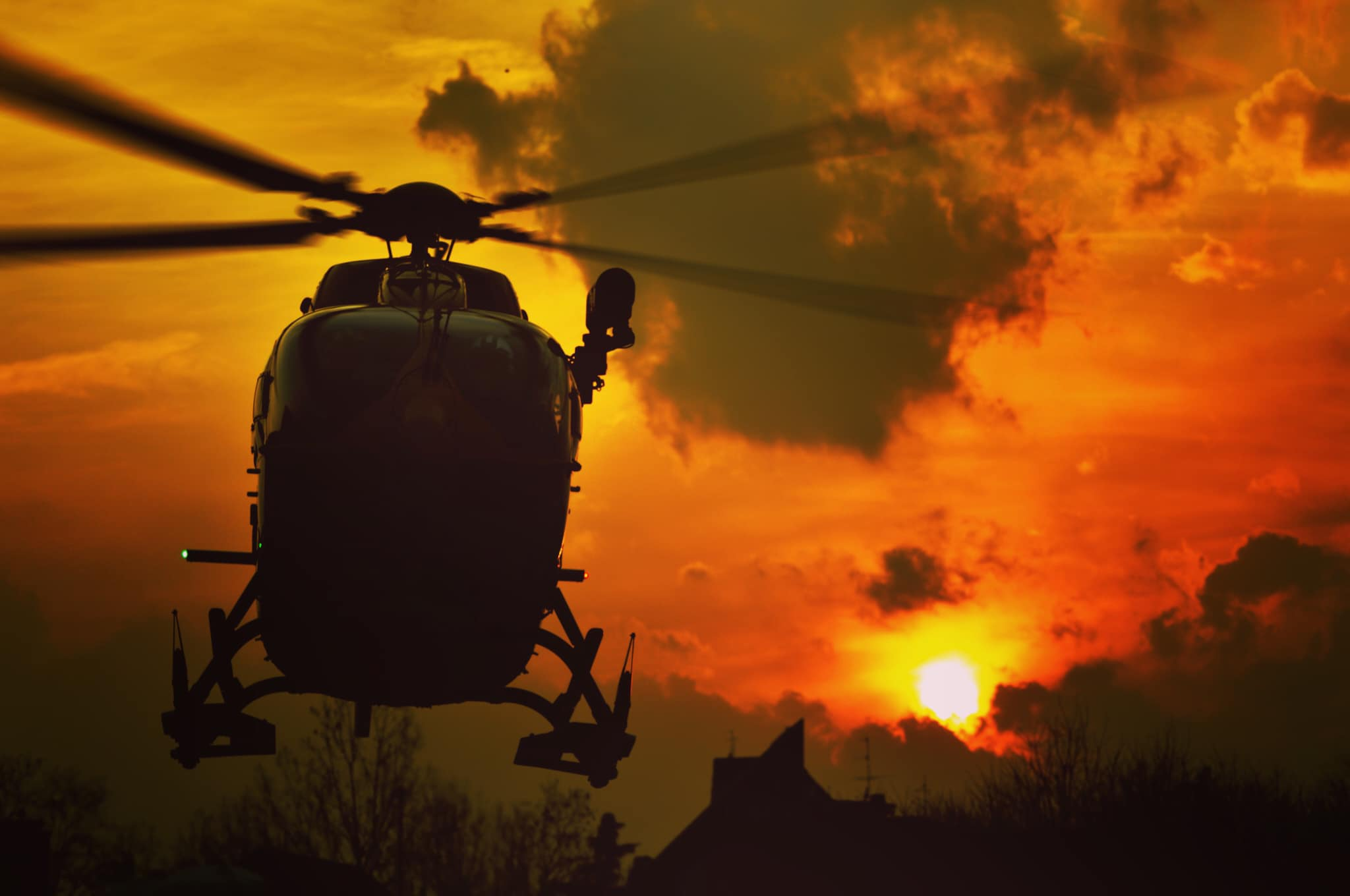 An Airbus H145 lands at sunset. Photo submitted by Alberto Betto