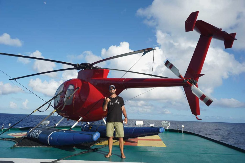 By the end of his time on the boat, Hayes was flying up to 90 hours a month. Matthew Hayes Photo