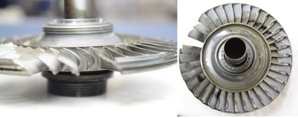 Rolls-Royce is redesigning the third-stage turbine wheel to improve its tolerance to fatigue cracking and operation at responsive wheel modes. ATSB Photos