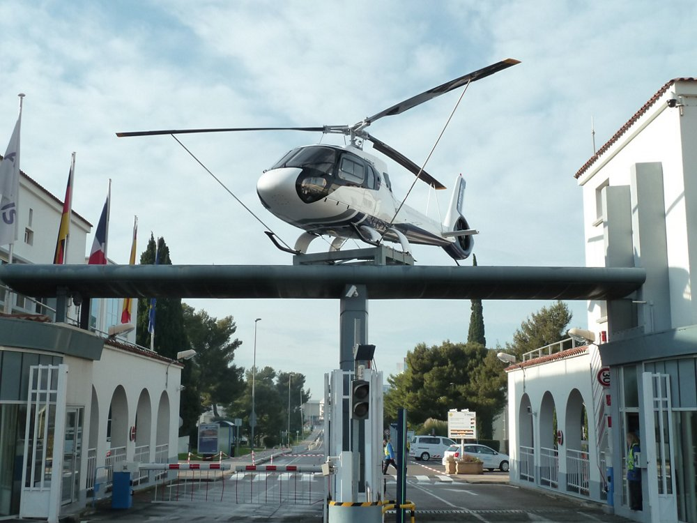The entrance to Airbus Helicopters' facility in Marignane. As of March 23, just 15 percent of the company's staff had returned to work at the plant. Airbus Photo
