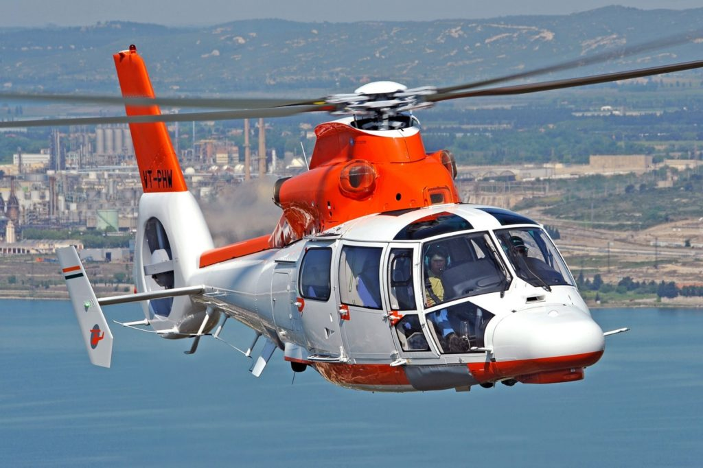 A Pawan Hans Airbus AS365 Dauphin, shown for representational purposes only, flies offshore. Airbus Helicopters Photo