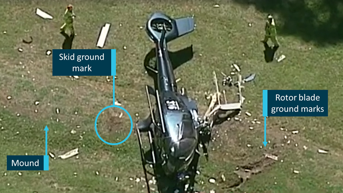 An aerial view of the crash site. ATSB Image
