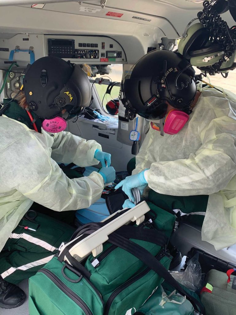 Acadian Air Med purchased 2,800 3M OV/P100 Respirators to protect their air and ground ambulance medical crews. Acadian Air Med Photo