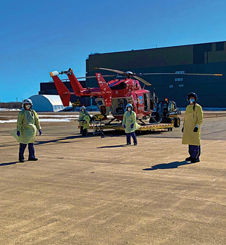 A key challenge for air medical providers was ensuring adequate supplies of personal protective equipment and training procedures for its use. STARS Photo