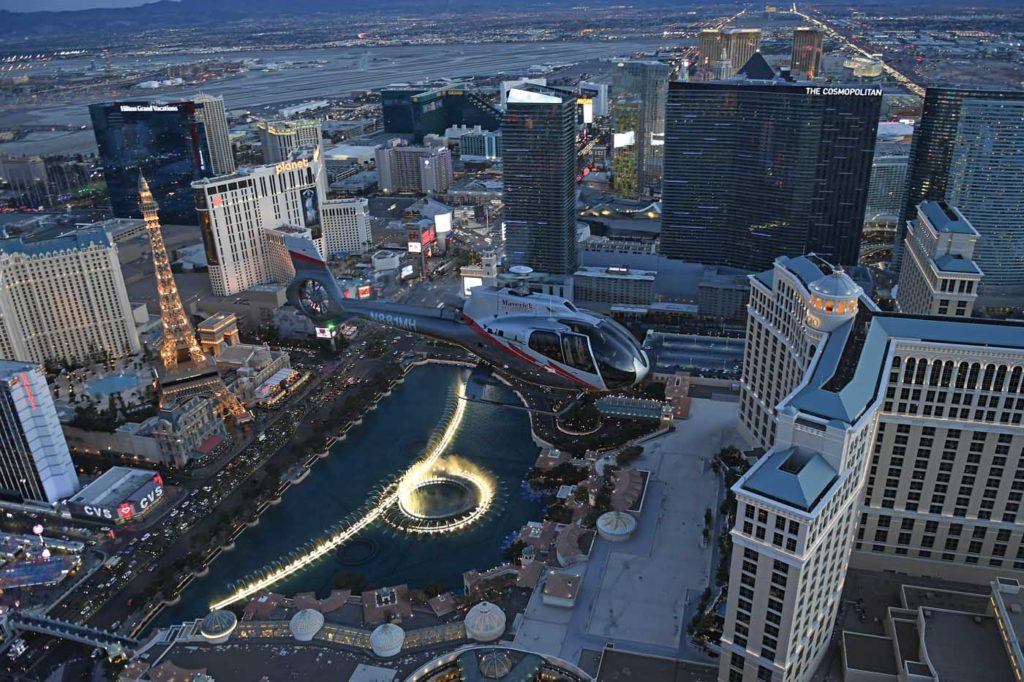 Aerial tourism company Maverick Helicopters reopened its operations on May 22, offering customers a buy-one-get-one offer on helicopter flights over Las Vegas, Nevada. Anthony Pecchi Photo