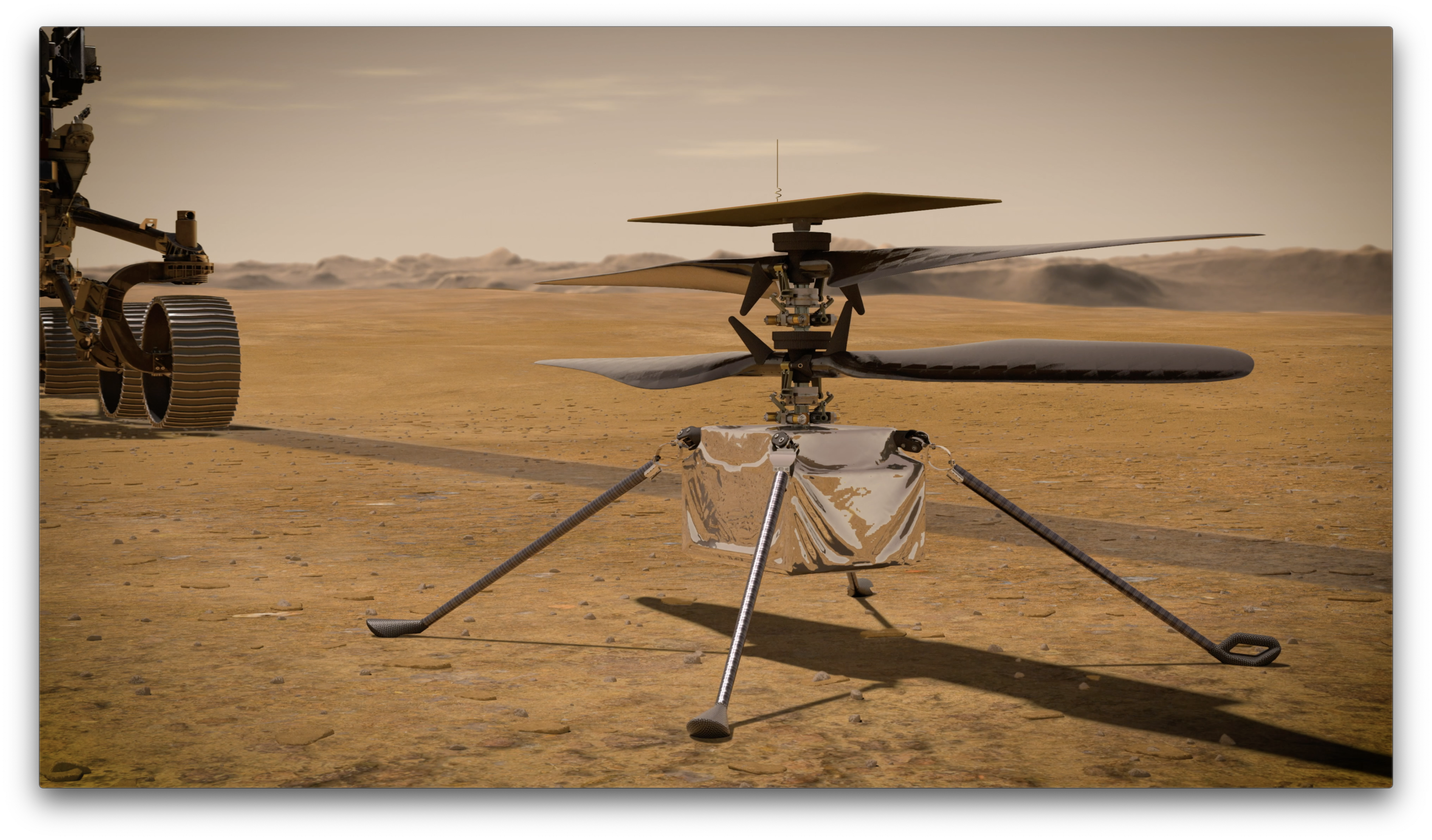 An artist's conceAn artist's concept shows NASA's Ingenuity Mars Helicopter standing on the Red Planet's surface. The aircraft will arrive on Mars on Feb. 18, 2021, and will become the first aircraft to attempt controlled flight on another planet. NASA Imagept shows NASA's Ingenuity Mars Helicopter standing on the Red Planet's surface. The aircraft will arrive on Mars on Feb. 18, 2021, and will become the first aircraft to attempt controlled flight on another planet. NASA Image